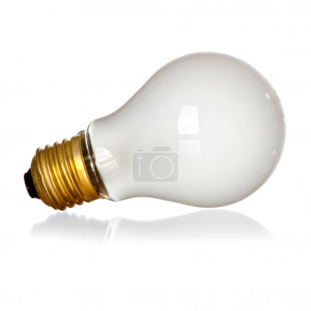 Photo for Isolated mate light bulb on white background with reflection - Royalty Free Image