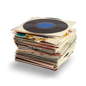 Vinylových desek s shaddow na bílém pozadí