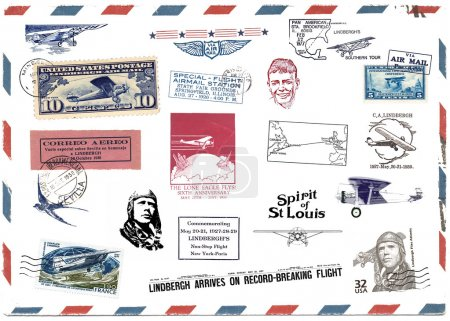 Photo pour Timbres et étiquettes surtout vintage montrant des motifs sur l'avion et aviation pioneer charles lindbergh - image libre de droit