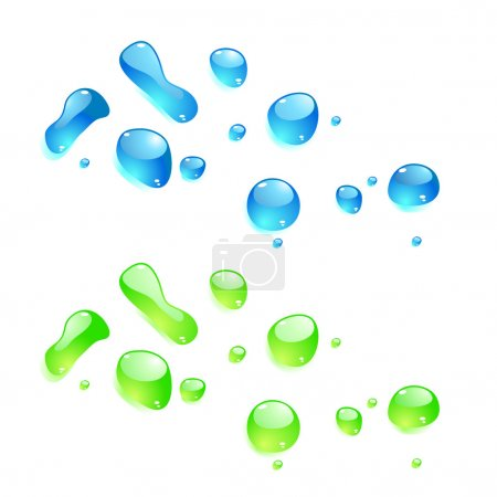 Color drops on white background