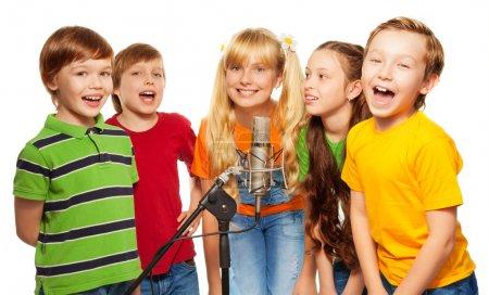 Classmates singing together