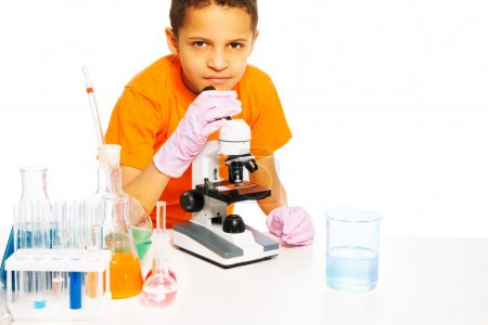 Little scientist kid