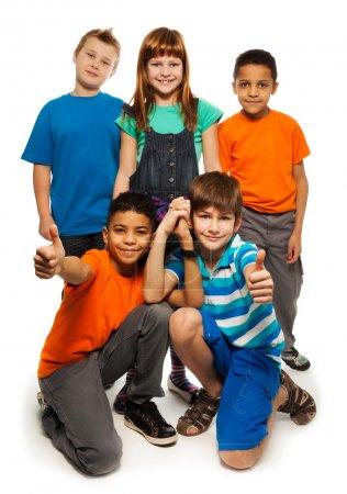 5 diversity looking happy kids