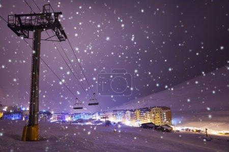 Night on ski resort Pas de la casa, Andorra