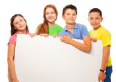 Group of kids show sign