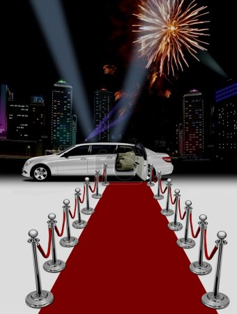 Photo for White limo and red carpet over building background at night - Royalty Free Image