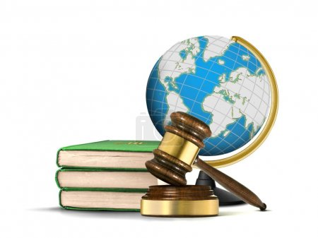 International Justice system with gavel books and globe