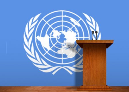 Podium and United Nation flag