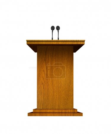 Photo for Podium and microphones over white - Royalty Free Image