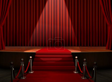 Photo for Red Carpet and Stage with Security Barrier - Royalty Free Image