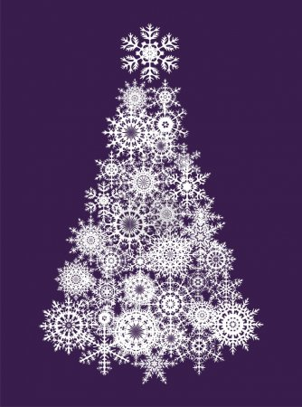 Illustration for Postcard with xmas tree from snowflakes - Royalty Free Image