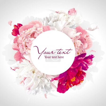 Luxurious pink, red and white peony background wit...