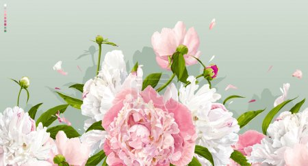 Illustration for Luxurious pink and white peonies background with leaves and buds - Royalty Free Image