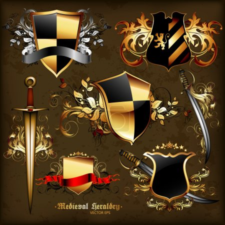Set of medieval heraldry