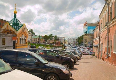 Parking cars at walls of