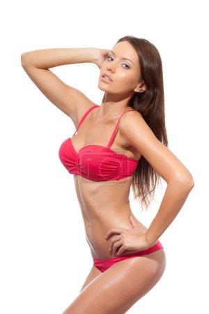 Isolated shot of woman wearing pink bikini