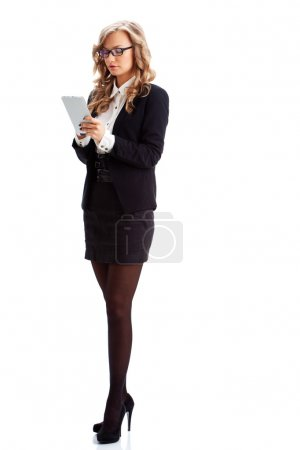 Photo for Businesswoman full lenght isolated portrait with tablet - Royalty Free Image