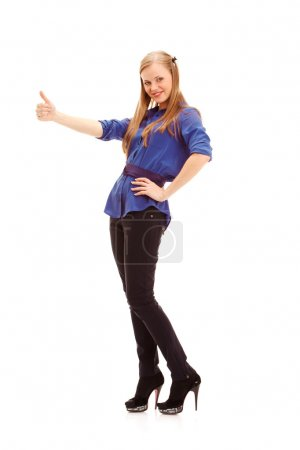 Blonde woman thumbs up her finger