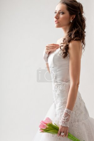 Beautiful bride studio half-length portrait