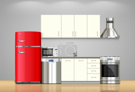 Kitchen and house appliances: microwave, refrigera...
