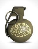 Grenade - brain damage on white background
