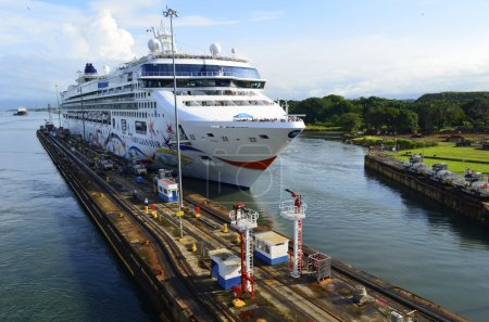 Cruise Ship Entering the Panama Canal