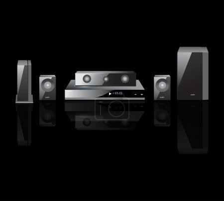 Black acoustics theater components audio, Remote Control, Speakers