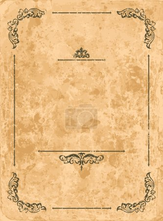 Illustration for Vintage design elements on old paper sheet - Royalty Free Image