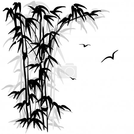 Illustration for Black silhouette of a bamboo and birds on white background - Royalty Free Image
