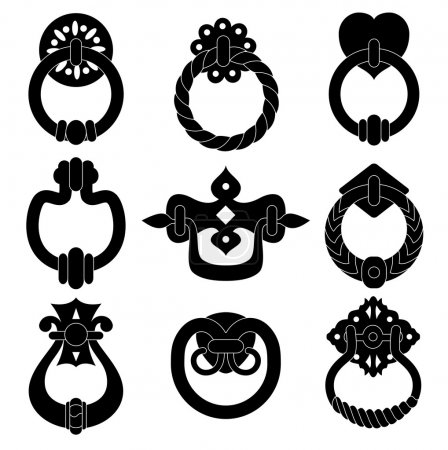 Illustration for Black door handle silhouettes set - Royalty Free Image