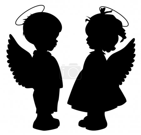 Two black angel silhouettes isolated on white...