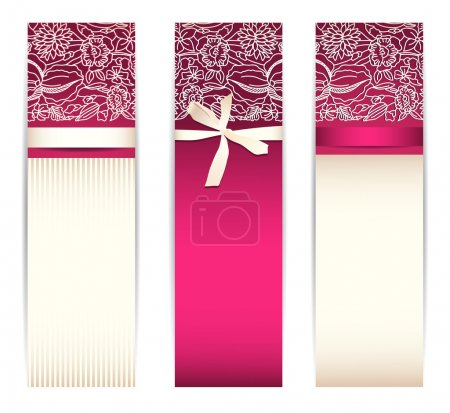 Illustration for Set from bright pink banners with silk ribbon and lace isolated on white - Royalty Free Image