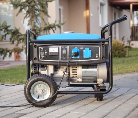 Gasoline powered portable generator at home....