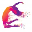 Active Jumping and Dancing Young Woman. Abstract M...