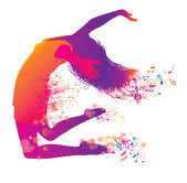 Active Jumping and Dancing Young Woman Abstract Music Banner