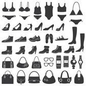 Set of vector silhouettes: shoes swimwear and accessories Icons