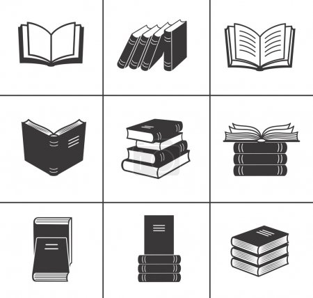 Illustration for Book icons set. - Royalty Free Image