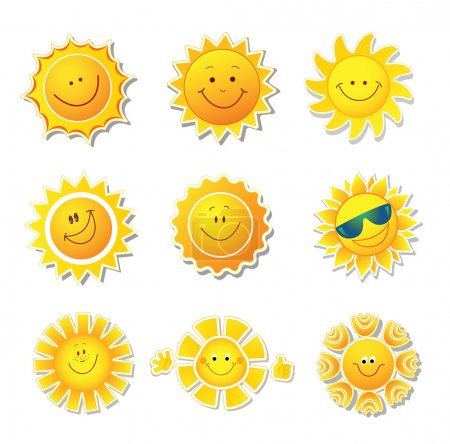 Sun icons. Beautiful elements for design.