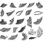 Wings. Set of vector design elements....