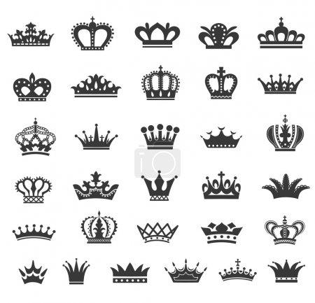 Illustration pour Ensemble d'icônes de couronne vectorielle . - image libre de droit