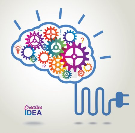 Illustration for Creative Brain Idea concept background. - Royalty Free Image