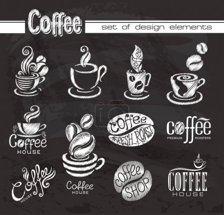 Coffee. Design elements on the chalkboard.
