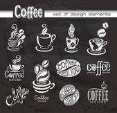 Coffee Design elements on the chalkboard