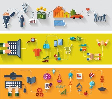 Illustration pour Bannières plates et web design. Ensemble d'arrière-plans conceptuels. Les affaires. Achats en ligne. Éducation moderne avec internet . - image libre de droit