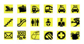 Service icon set illustrated vector pictograms black and yellow