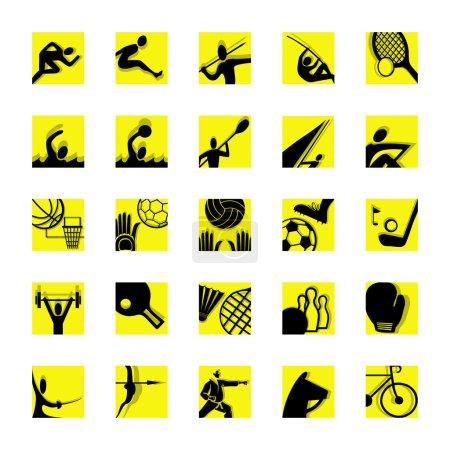 Sport icon set yellow