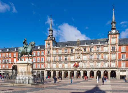 Photo for Monument to King Philip III of Spain on the Plaza Mayor in Madrid - Royalty Free Image