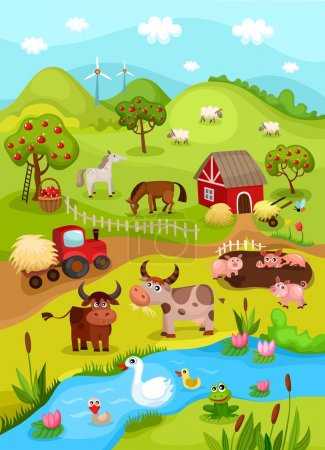Illustration for Vector illustration of a farm card - Royalty Free Image