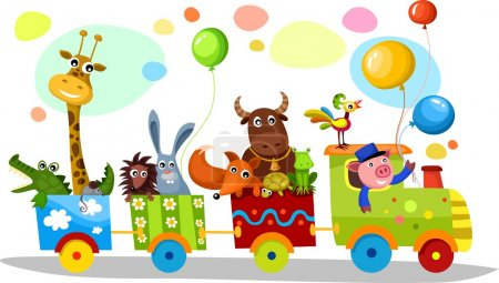 Illustration for Vector illustration of a cute train - Royalty Free Image