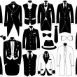 Suits illustration set isolated on white...